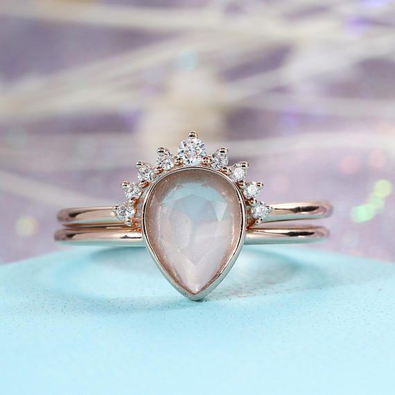 Moonstone Engagement Ring set 14K Rose Gold Diamond Wedding