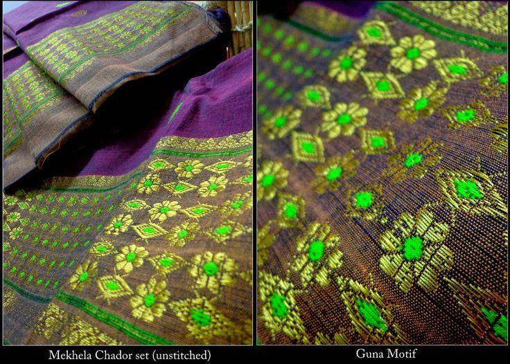 Cotton Mekhla Sador - Brown Kopahi from Lal10.com
