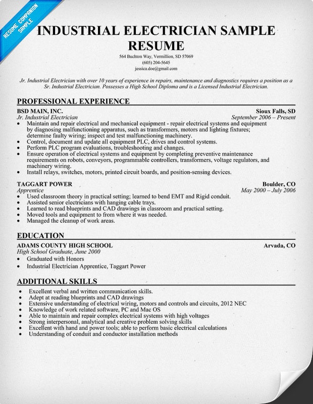 Industrial Electrician Resume Sample (resumecompanion - plumber apprentice sample resume