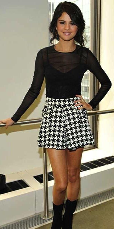 selena gomez in a houndstooth skirt justin bieber