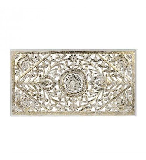 WOODEN WALL DECOR IN WHITE-GOLD COLOR 85X3X30