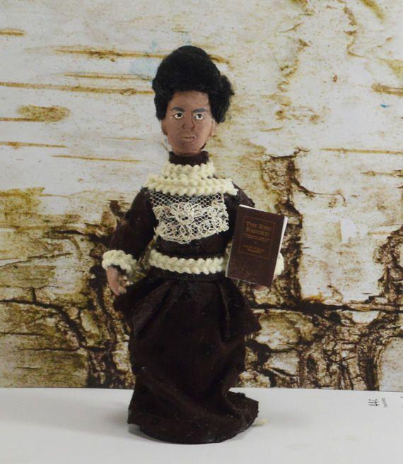 Happy Birthday Ida B. Wells. One-of-a-kind doll handmade by Debbie Ritter.