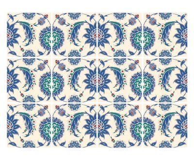 12 Stickers ISABELLA, bleu et blanc - 15*15