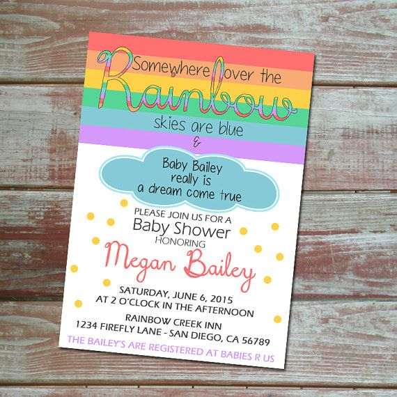 Somewhere Over The Rainbow Baby Shower Invitation