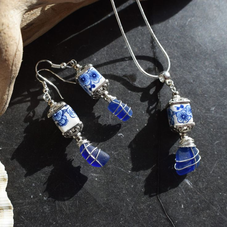 This rare cobalt blue seaglass and porcelain set is elegant, romantic and earthy. I know that so many people, like me, feel the call of the sea and the salty breeze in their soul. My aim is to bring a little slice of that romantic ocean escape to my customers ♡ ----------------------------------