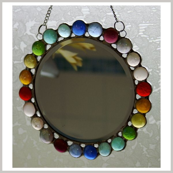 Stained Glass Mirror Rainbow Round £13.50