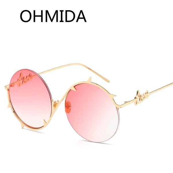 #FASHION #NEW OHMIDA New Fashion Round Sunglasses Women 2017 Pink Mirrored Sunglasses For Men Retro Black Vintage Brands Oculos De sol Gafas