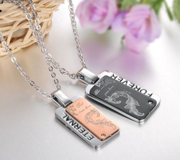 $26,17 Exclusive pairing stainless steel pendant + necklace combination for lovers. BEST PRICE: Directly in the jewelry factory. VAT-free shopping: Available, partners based in the European Union, only applies to EU tax identification number (UID). Exclusive design pairing stainless steel pendant & necklaces for couples and lovers.