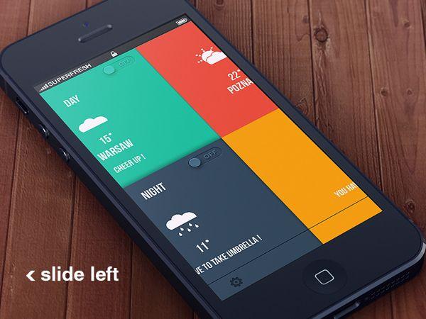 Weather app + psd by Paweł Pniewski, via Behance