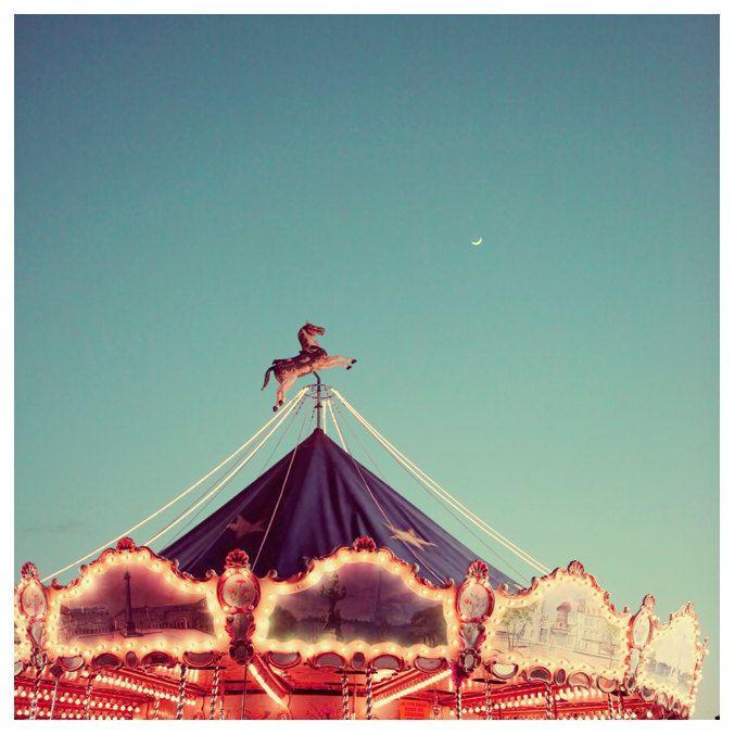 Carnival Photograph - Paris Photography - French Photograph - City - Carousel - Fine Art - Crescent Moon Over Paris 2. $35.00, via Etsy.