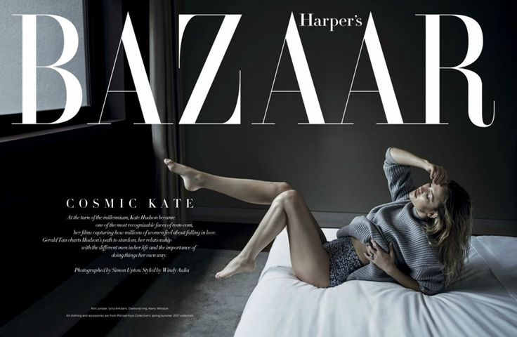Posing in bed, Kate Hudson wears Michael Kors Collection knit jumper and briefs