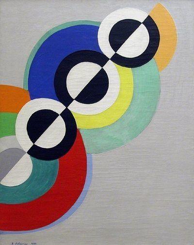 Robert and Sonia Delaunay, 1934, Rythme. « Les couleurs pures devenant plans et s'opposant par contrastes simultanés créent pour la première fois la forme nouvelle construite non par le clair-obscur, mais par la profondeur des rapports des couleurs mêmes. » Caption from link