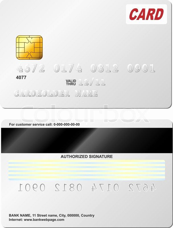 Blank Credit Card Template New Blank Credit Card Vector Template Front And Back View Credit Card Design Card Design Card Template