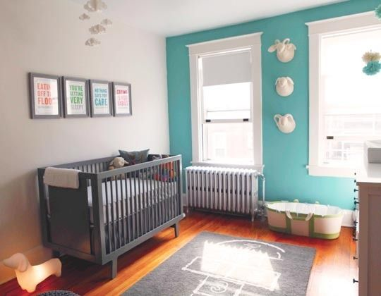 Swap the gray crib with white or natural wood, and I might just be sold-- love the hopscotch rug! This is similar to the color we have in our bedroom now.