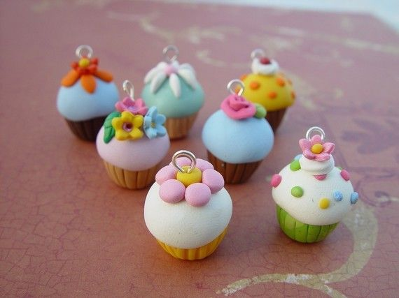 Polymer Clay Cupcake Charms.