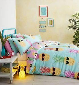 Funky Pineapple Bright Tropical Beach Theme Summer Bedding Duvet Cover | eBay