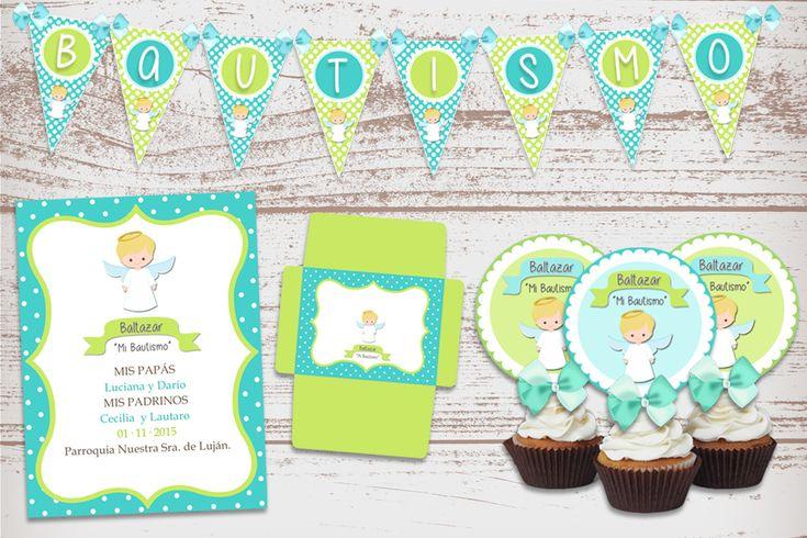 Kit Imprimible Angelito para Bautismo 1 Añito de Nene Varón