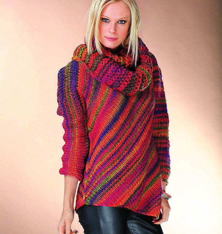 Джемпер с воротником-шарфом - схема вязания спицами. Вяжем Джемперы на Verena.ru