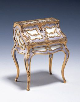 Fabergé miniature desk dating from 1896-1900, purchased by King George VI for Queen Elizabeth in 1946   [The Royal Collection (c) 2011, Her Majesty Queen Elizabeth II]