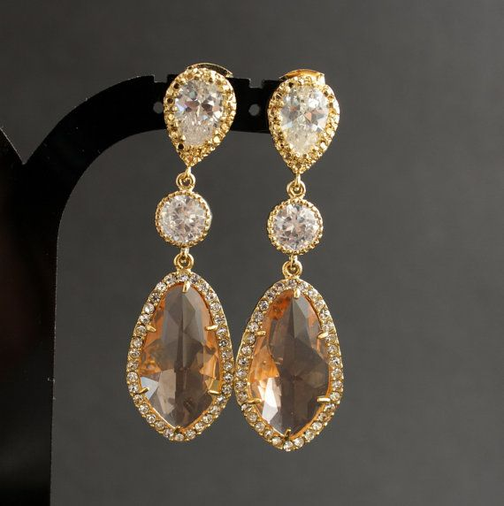 Wedding Jewelry Champagne Earrings Bridal Earrings Wedding Earrings Gold Cubic Zirconia Posts with Light Peach Glass drops on Etsy, $60.00