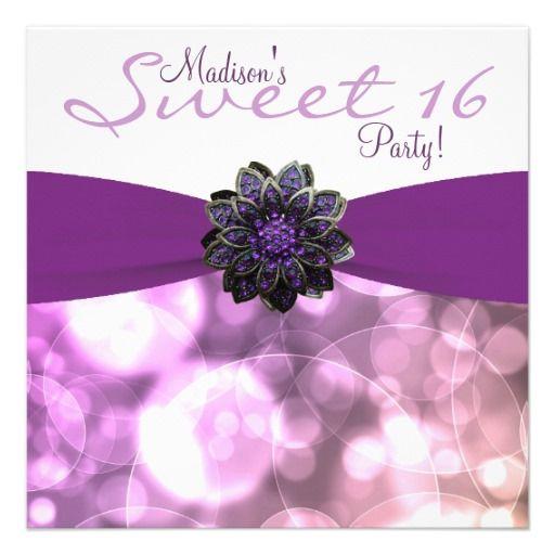 18 best sweet 16 invitation templates images on pinterest birthday purple sweet 16 birthday party invitation filmwisefo