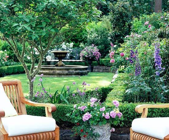 Patio with a view...: Gardens Ideas, Backyard Landscape, Gardens Design Ideas, Modern Gardens Design, Beautiful Backyard, Interiors Design, Formal Gardens, Shrub, Interiors Gardens