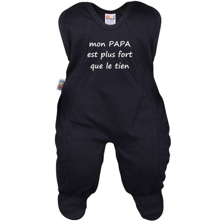 Grenouillère bébé avec texte : mon PAPA est plus fort que le tien