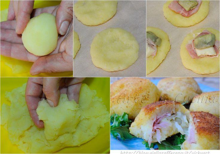 Bomboloni di patate salati ripieni con carciofi e asiagoLessate 500 g di patate pesate da crudo. Cuocete con un filo di olio 1 carciofo tagliato a spicchi o 7-9 spicchi di cuori di carciofi surgelati. Lasciate intiepidire le patate e schiacciatele in una ciotola e aggiungete 1 cucchiaino di sale, 2 cucchiai di rasi farina quella che preferite, del formaggio grattugiato, facoltativo, e impastate tutto con le mani. L'impasto si presenta sodo, non appiccicoso. Prelevate circa 80 g di composto…