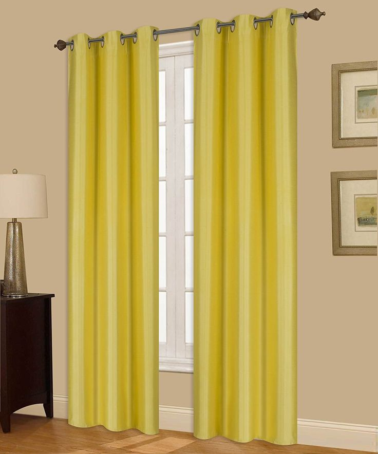Yellow Curtain Silver Grommet Top Foam Lined Backing Insulated Thermal Blackout Drape Panel