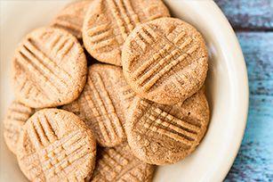Easy Creamy Peanut Butter Cookies Recipe - Kraft Recipes #cookierecipes