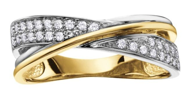 Classic and chic, this ring features one band each of 10k white and yellow gold with the white gold band featuring  diamonds.