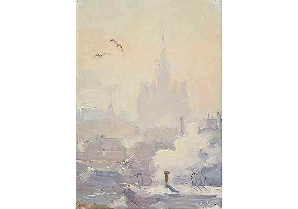 """""""Зима в Москве"""", картон, масло, 1950-1960-е"""