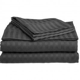 Σεντόνια Υπέρδιπλα (Σετ) 400+ By Bedwall Satin Stripe Dark Grey