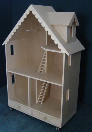 Made in USA wooden dollhouse kit and furniture