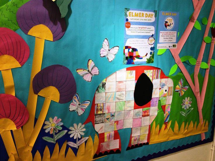 Fab #ElmerDay display at Welwyn Garden City library