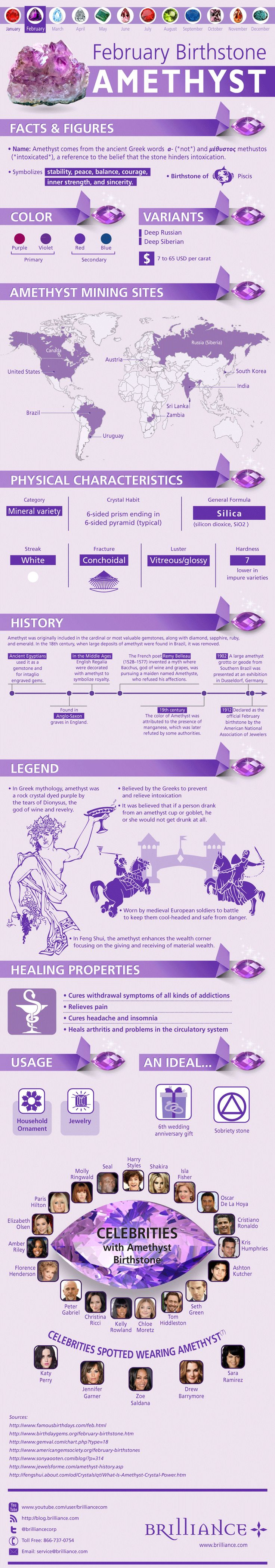 February babies, how much do you really know about your beautiful purple-hued birthstone? Discover more about the Amethyst on the blog: http://blog.brilliance.com/infographic/amethyst-the-february-birthstone