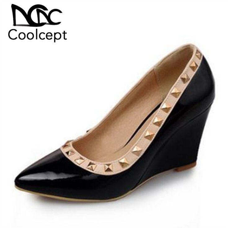 New Design <b>Women High</b> Wedges Shoes Rivet Pointed Toe ...