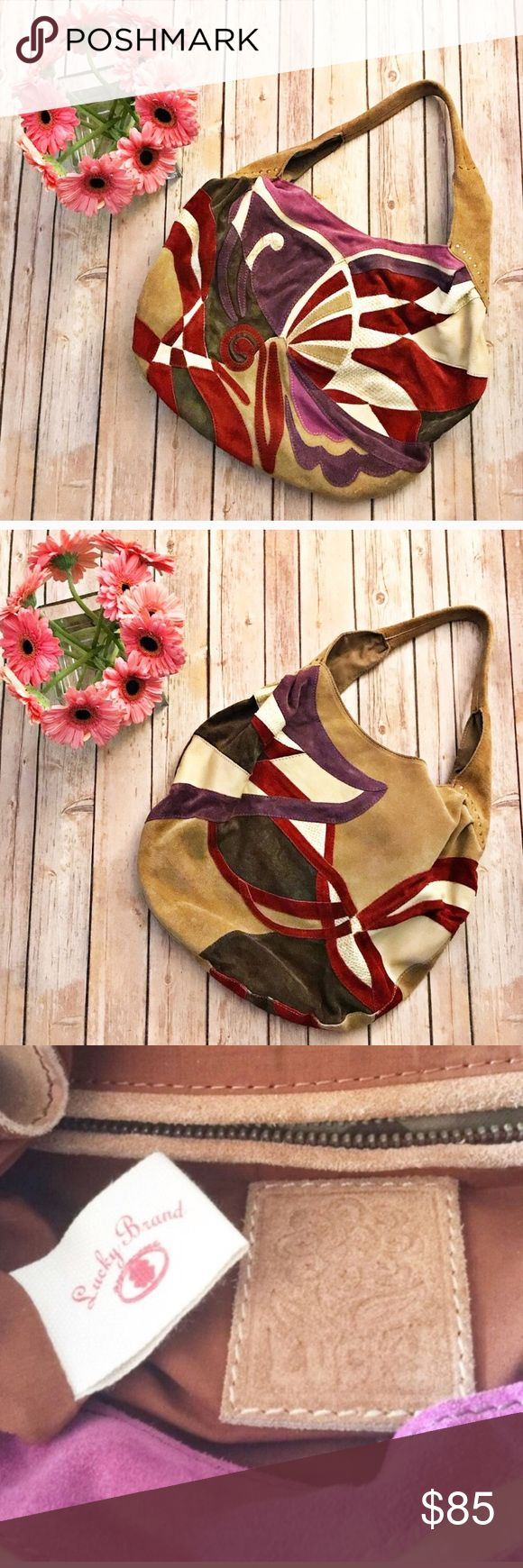 """Lucky Brand Suede Butterfly Bag EUC (only used once if even that really) Lucky Brand Purse with Butterfly design on front made with Suede and leather.  Colors are beige, tan, purple, and red.  Button closure, with inside zipper pocket, and two other interior pockets and a clasp for your keys.  14"""" deep. Comes with its dust bag.  Tan red purple and pink. Lucky Brand Bags Shoulder Bags"""