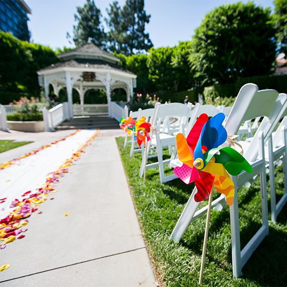 Colorful Pinwheels Line The Ceremony Aisle At Rose Court