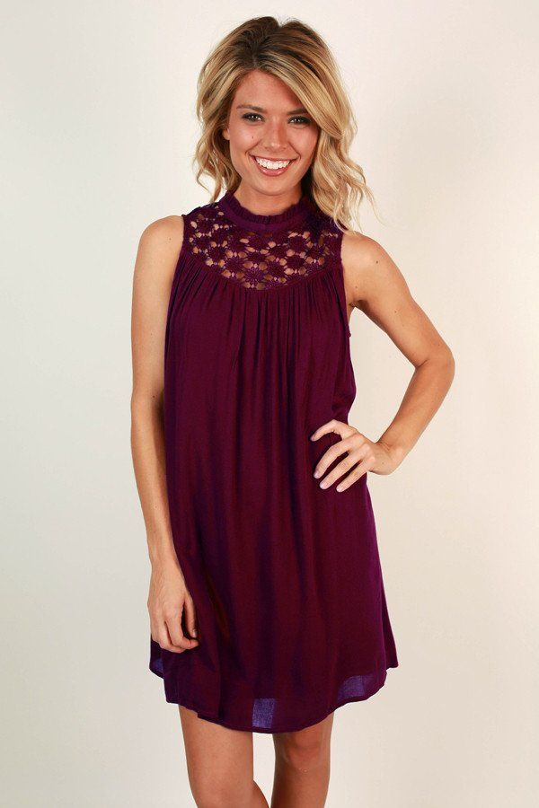 Lean On Me Crochet Shift Dress in Wine