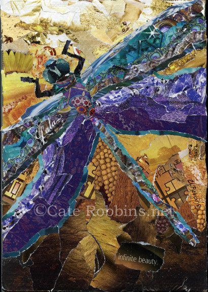 Infinite Beauty Dragonfly - Torn Paper Collage - Cate Robbins
