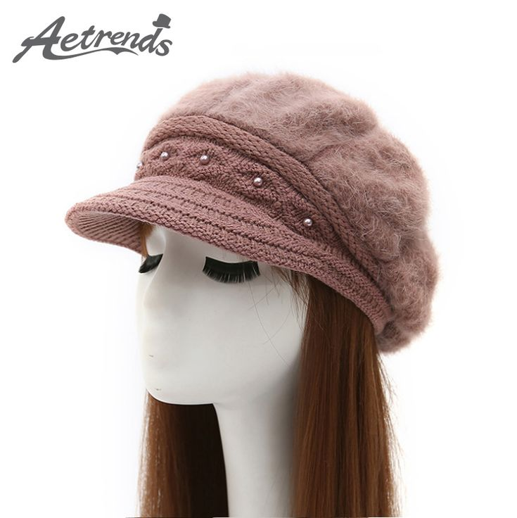 Womens Rabbit Fur Knitted Beanies Fashion Beret Hat with Velvet Inside and Pearl Decoration Z-3880