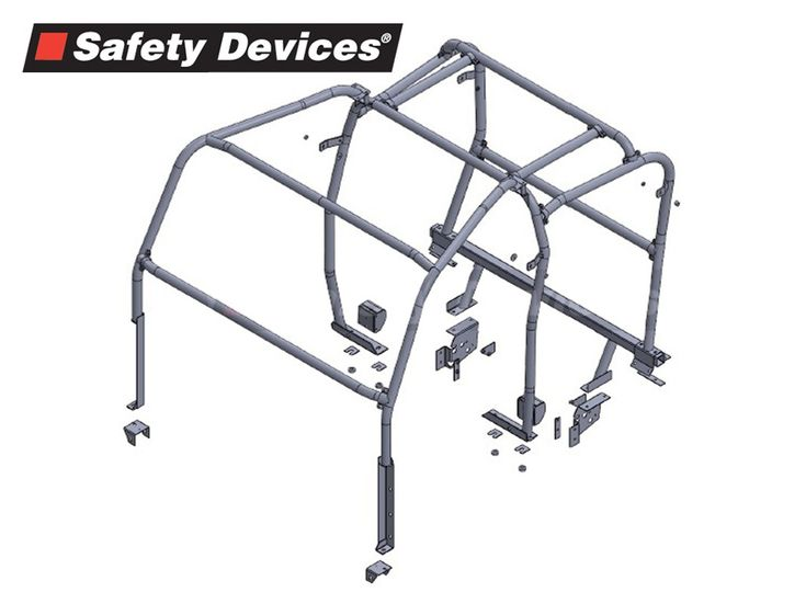 8 point Multi-point Bolt-in Full Roll Cage Black - 110 Td5 Double Cab Pickup 4-door
