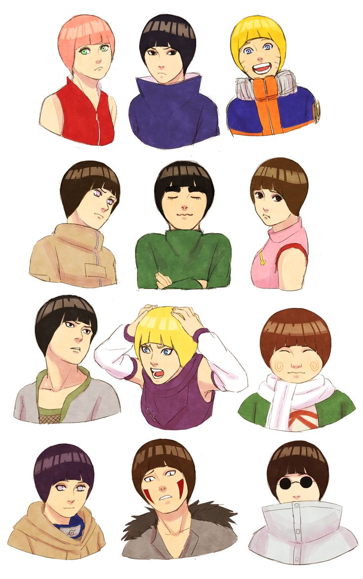 Anime Characters That Start With C : Bowl haircuts sakura sasuke naruto neji lee tenten