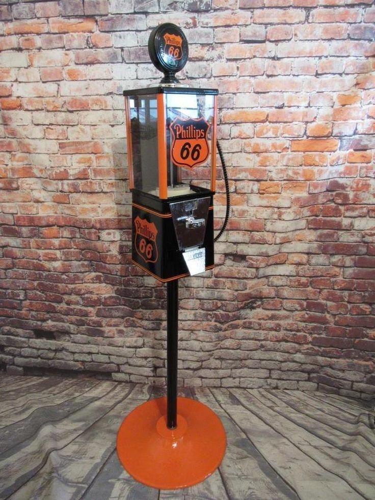 PHILLIPS 66  gas  Oak vintage gumball machine metal stand novelty memorabilia