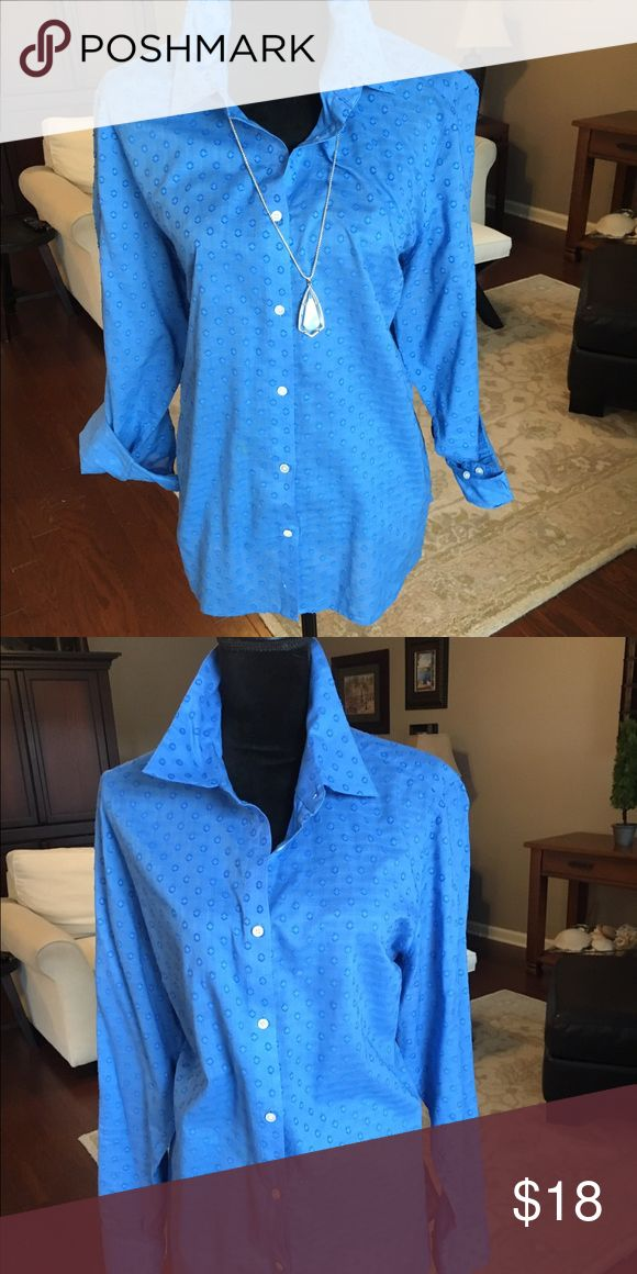 Talbots Size 2X blue button up shirt Beautiful soft blue fabric with tiny circles throughout the fabric Talbots Tops Button Down Shirts
