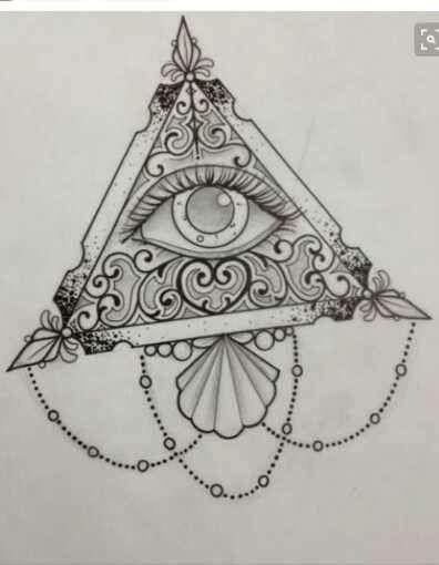 Cute aesthetic triangle illuminati tattoo sketch