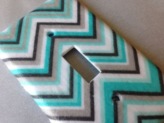 Tiffany Blue And Gray Chevron Striped Single Light Switch Plate Cover