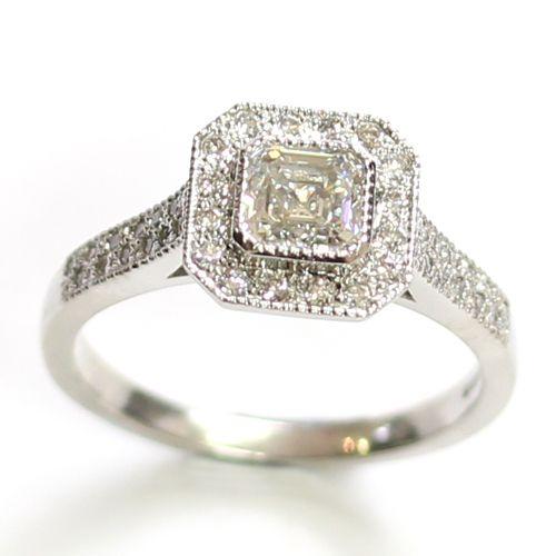 Platinum Asscher Cut Diamond Halo Engagement Ring handmade by Form Bespoke J