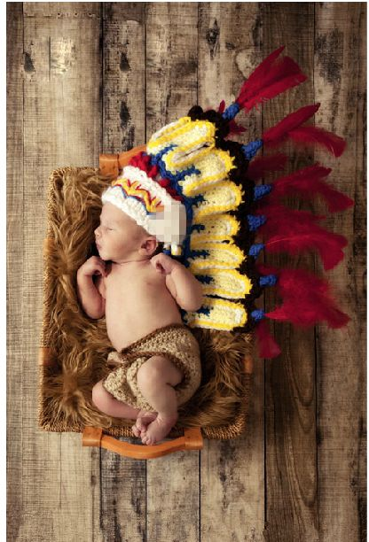 2014 New Arrivals Handmade Indian Style Baby Boy Girl Headdress Hats Caps Diapers Crochet Newborn Photography Props Costume Set